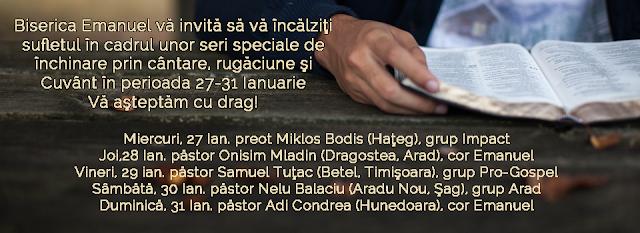 Evanghelizare la Biserica Emanuel Timisoara (27-31 ian 2016)
