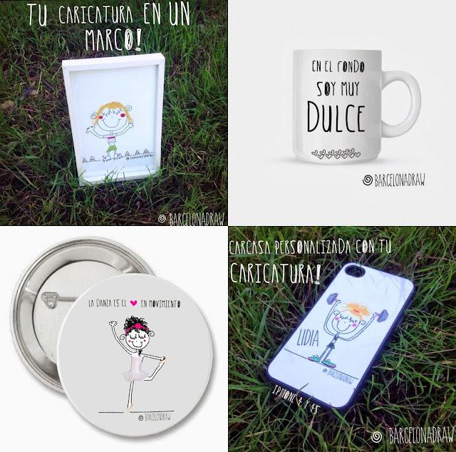 Ilustraciones y caricaturas en chapas, tazas, marcos y carcasa móvil Barcelona Draw