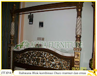 Tempat Tidur Kanopi Ukiran Rahwana Blok Kombinasi Duco marmer dan emas Jakarta