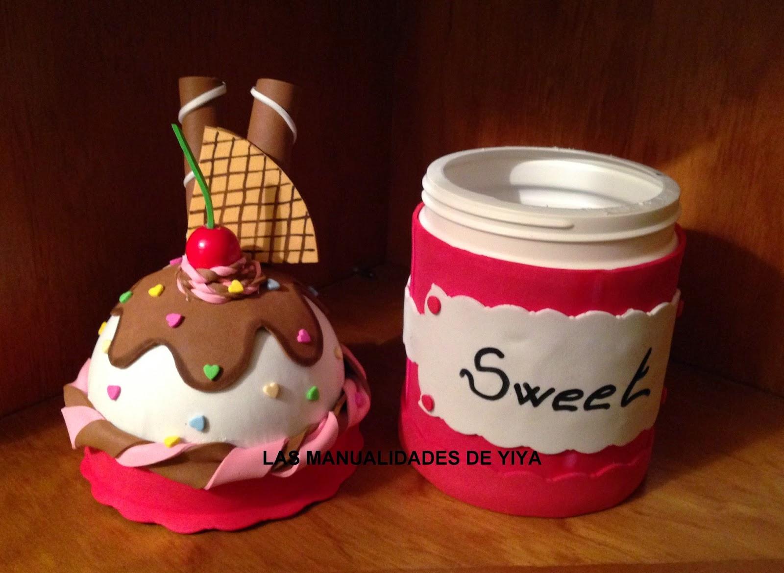 Las manualidades de yiya bote en forma de helado de goma for Botes de cocina decorados con goma eva