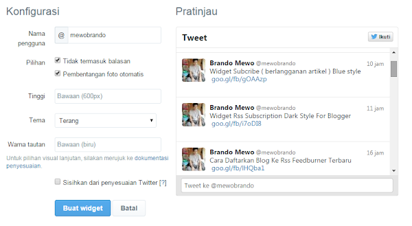 Cara Membuat Widget Twitter Feed di Blogger