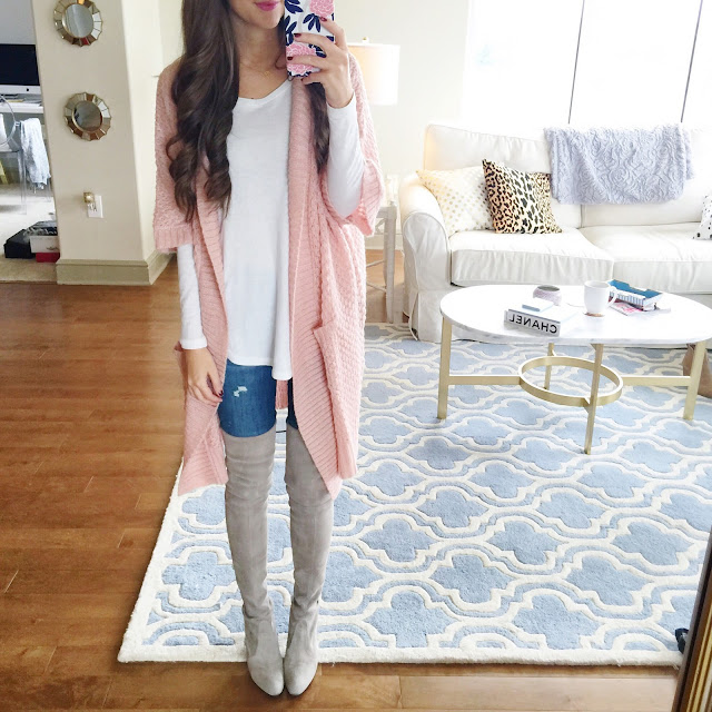 Pink cardigan looks really cozy!