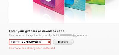 Erro de código já resgatado na loja iTunes EUA