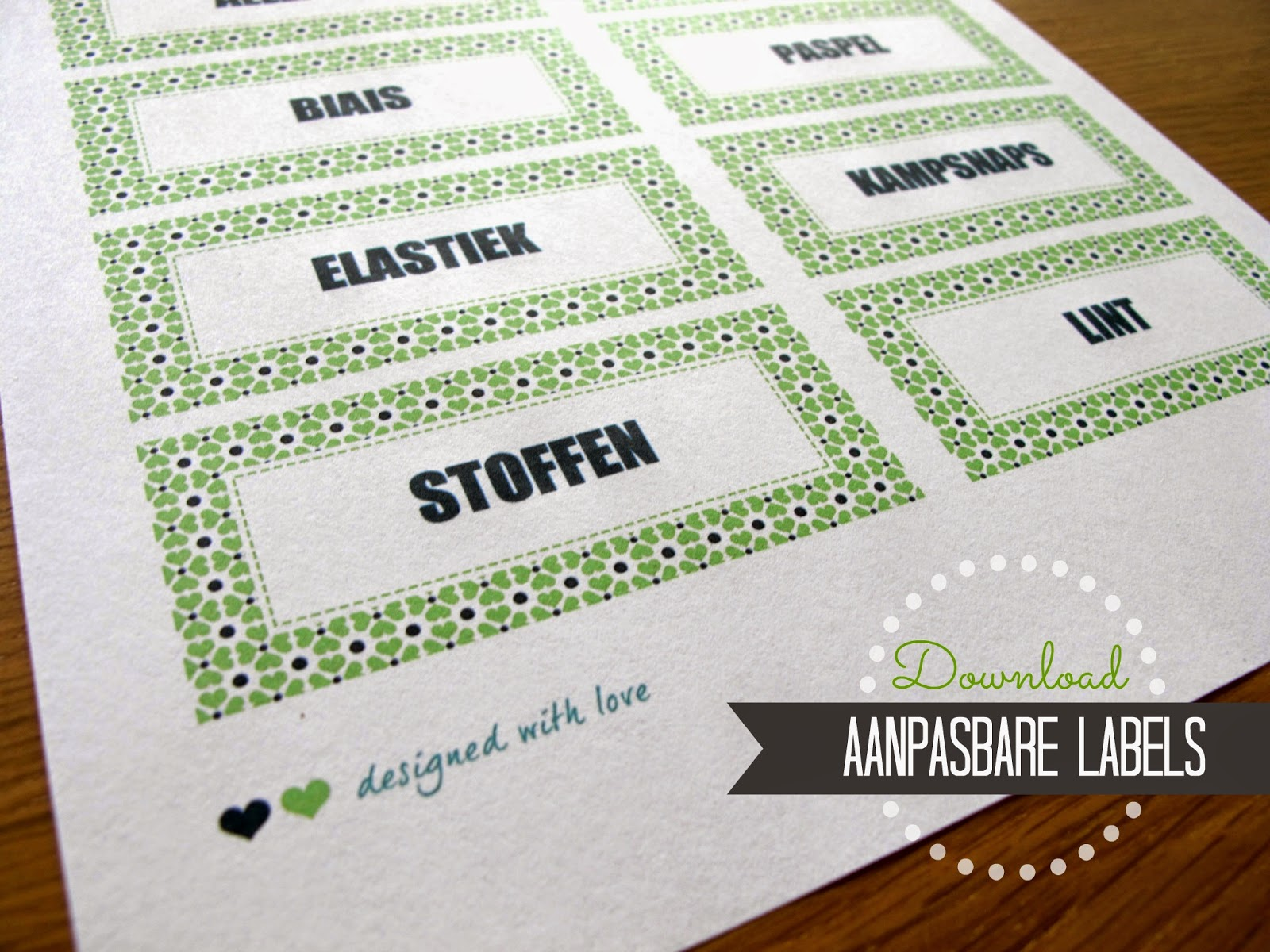 Aanpasbare labels, gratis download