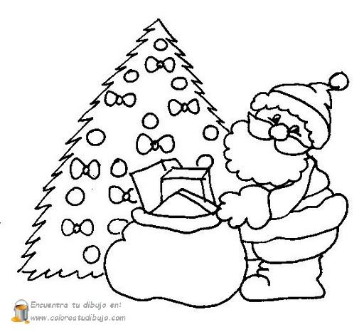 COLOREA TUS DIBUJOS: Papa Noel con árbol de navidad para colorear e ...