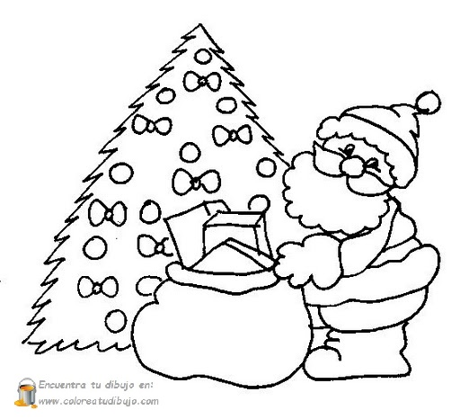papa noel con rbol de navidad para colorear e imprimir dibujos