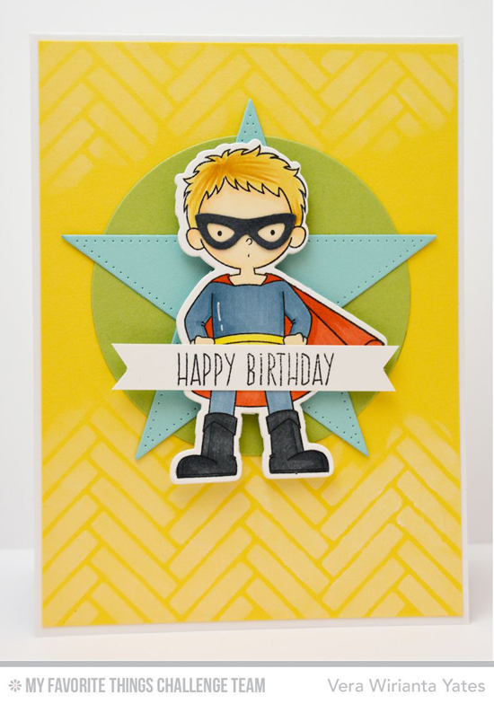 Happy BIrthday Card from Vera Wirianta Yates featuring the Super Boy stamp set and Die-namics