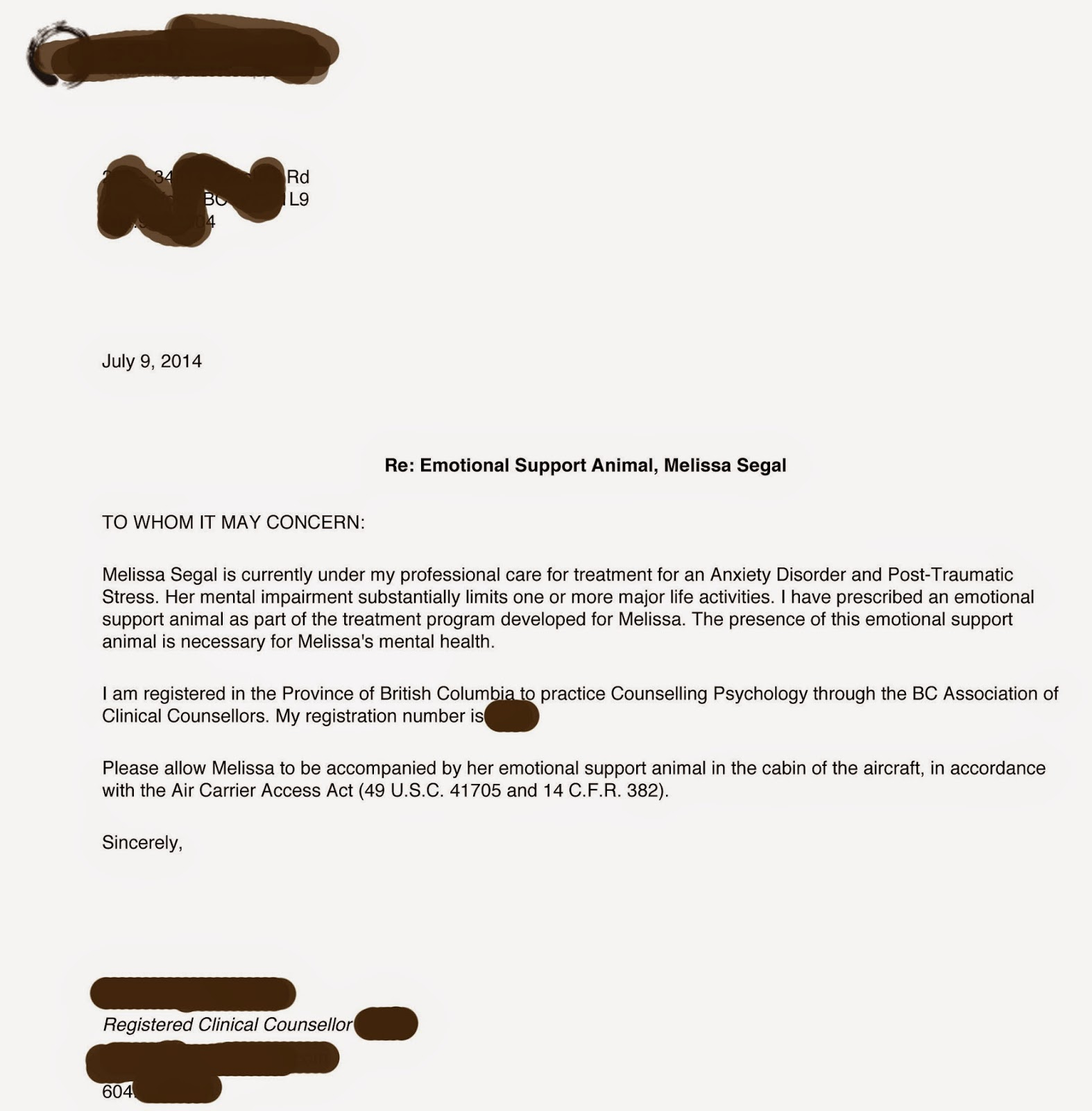 Sample Letter For Emotional Support Dog | Sample Business Letter