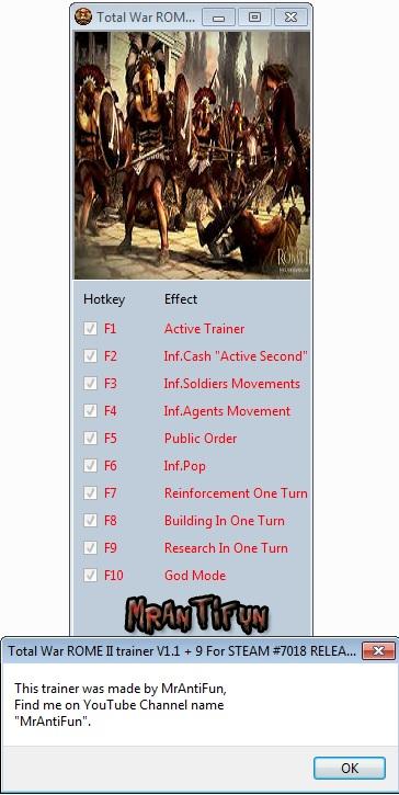 Total War ROME II trainer V1.1 + 9 For STEAM #7018 RELEASE MrAntiFun