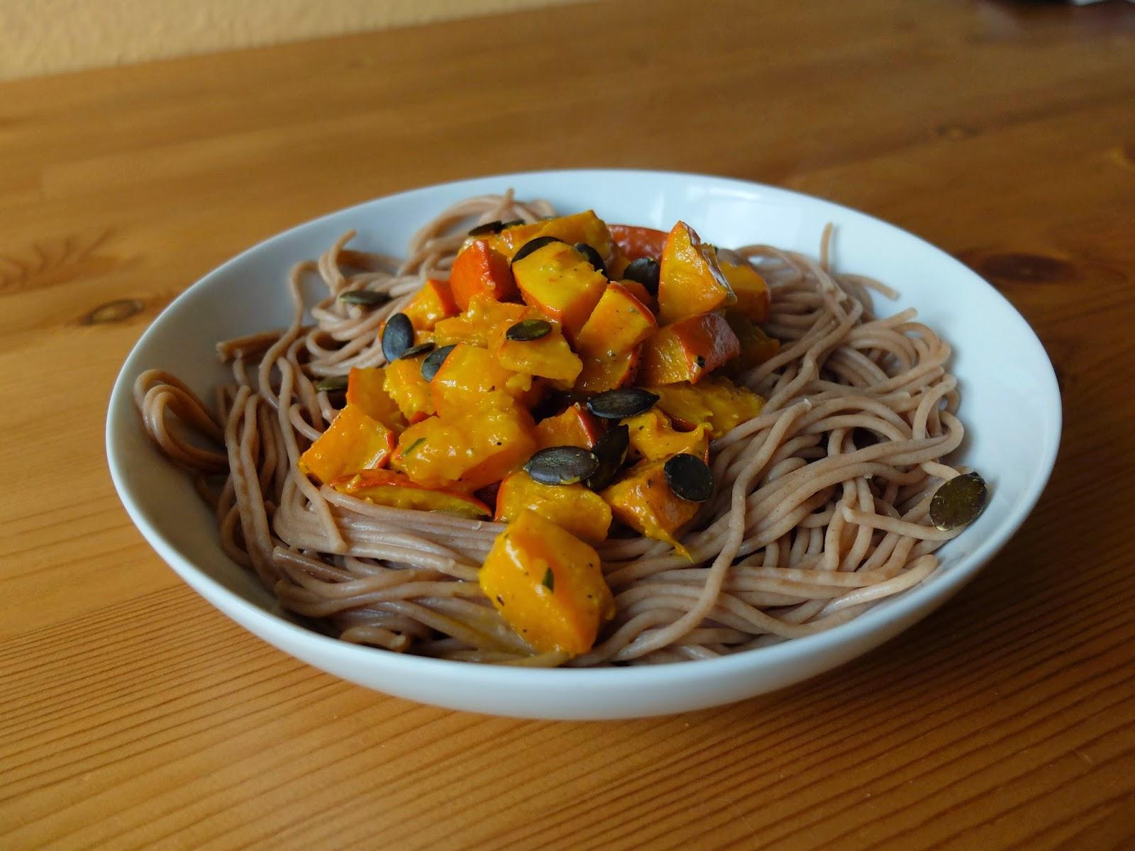 Dinkel Vollkorn Spaghetti mit Kürbis