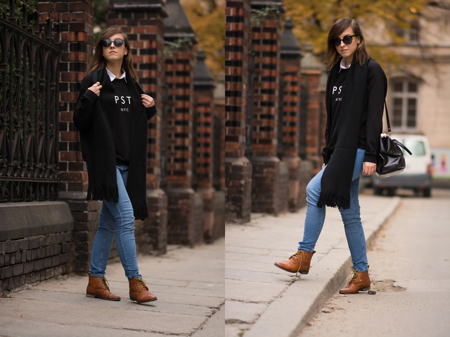 Mango Hipster sweatshirt, H&M sale jeans, camel laced up shoes, blogger, street style