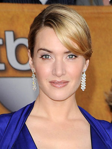 Kate Winslet's simple updo looks silky smooth and perfectly polished.