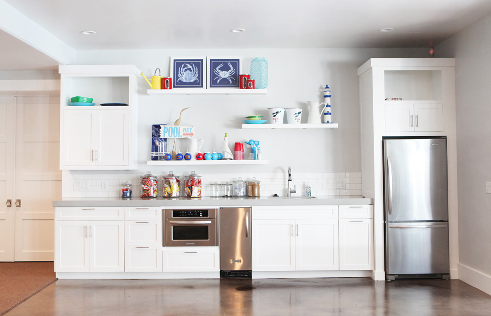 Brooke Jones Designs Basement Kitchen White Cabinets Floating Shelves