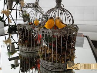 gaiolas, passarinhos, pinha, arranjo, natal, atelier Rosa Maria Calil, decoração