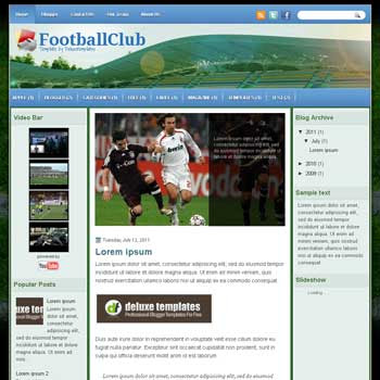 FootballClub blogger template. template blogspot magazine style.