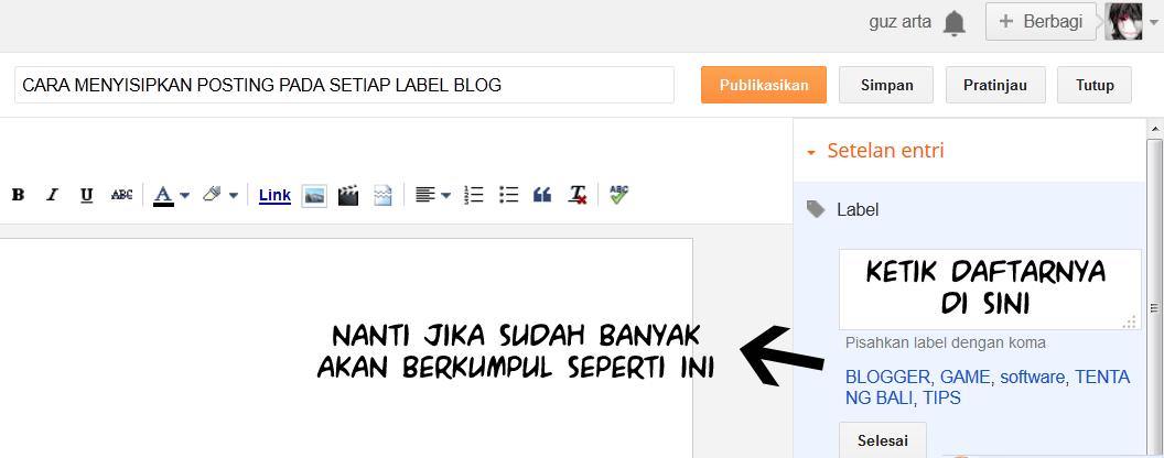 menyispkan label pada posting blog