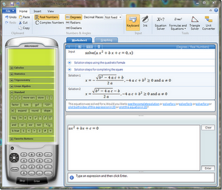 ScreenShoot Microsoft Mathematics 4.0