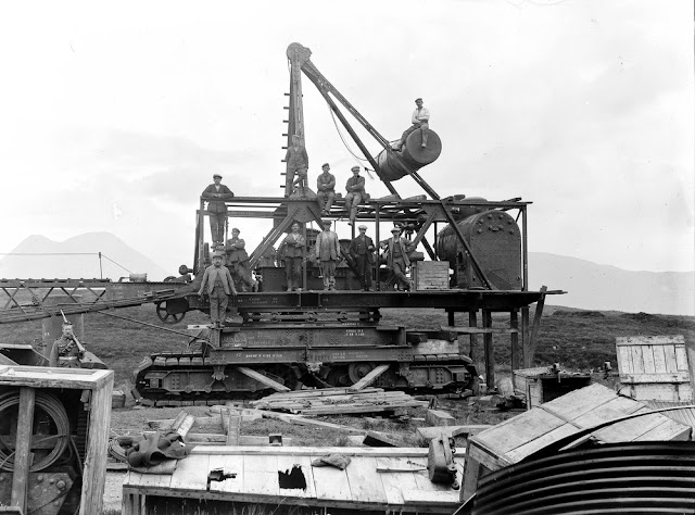 German Prisoners of War building a 'steam navvy' or dragline. Near entrance to No. 1 Mine, Raasay Ironstone Mines