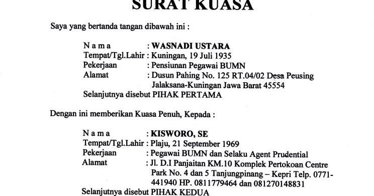 contoh surat kuasa inggris | berkutik.blogspot.com