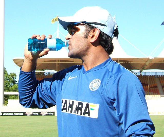 Mahendra Singh Dhoni Drinking Water