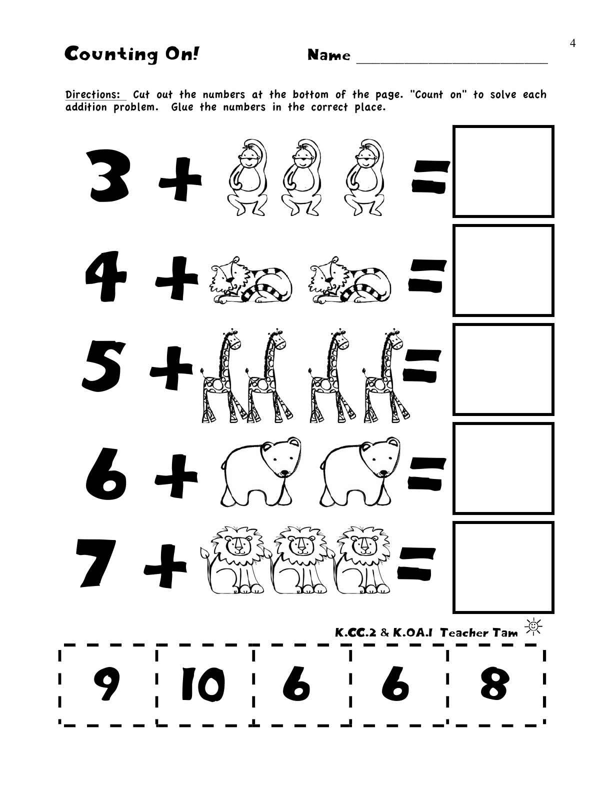 Worksheets Math For  Kidergarten A enjoy with math lessons tes teach