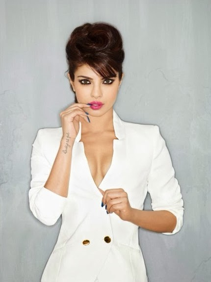 Priyanka Chopra cleavage in white coat Maxim Magazine