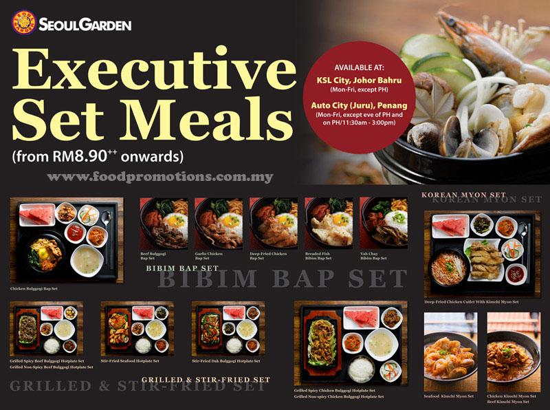 seoul garden executive set meals - Seoul Garden Menu