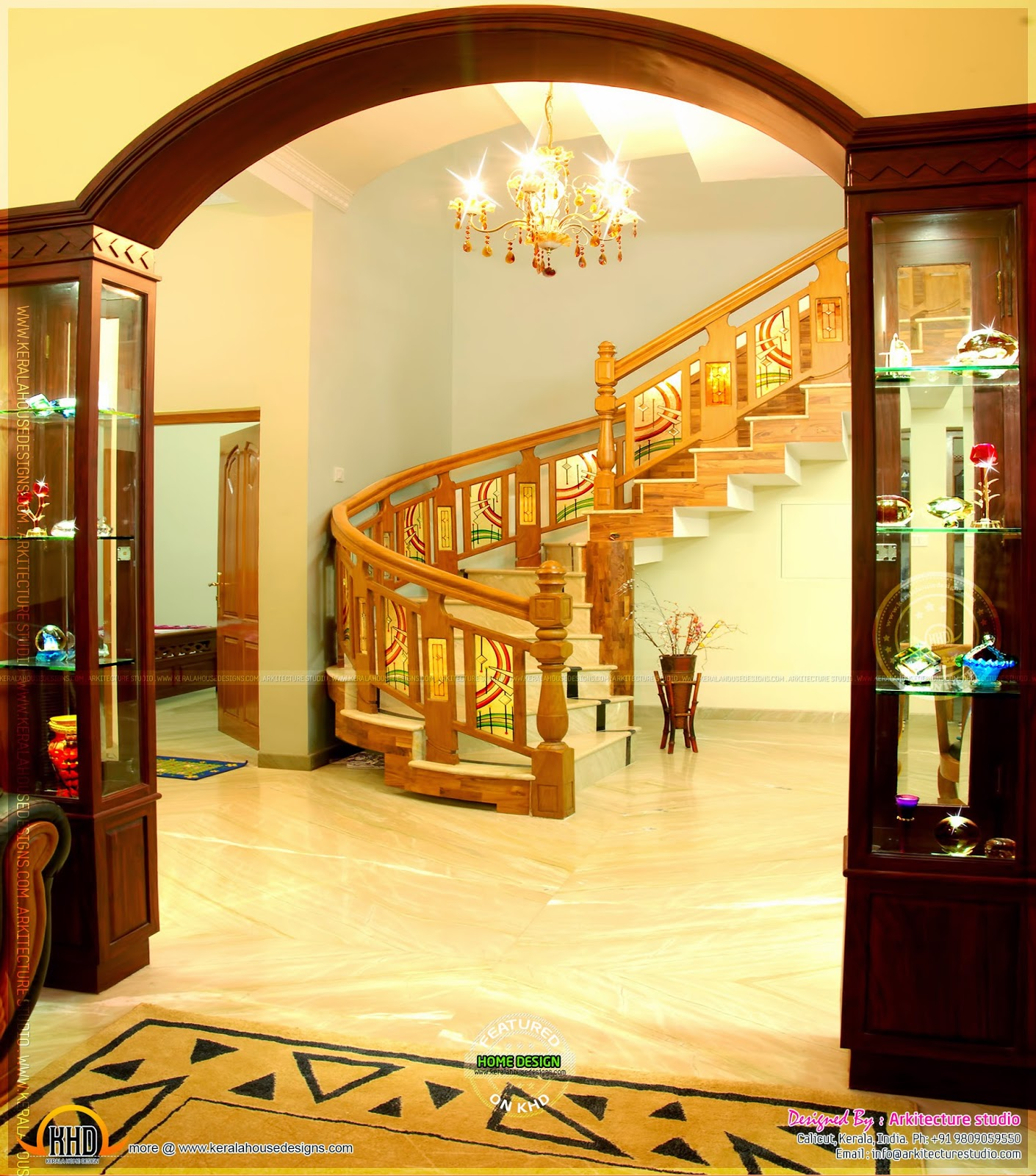 Real house in kerala with interior photos kerala home for Small hall interior design photos india