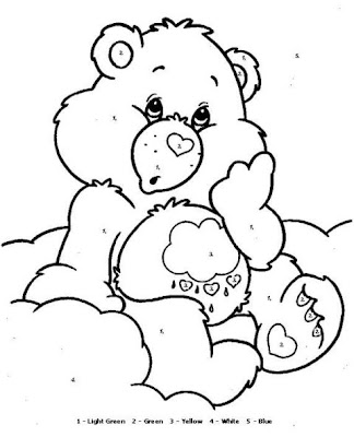 Printable Coloring Pages: Care Bears Coloring by Numbers