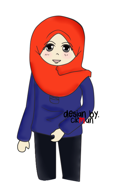 doodle, merah, biru, doodle muslimah, perempuan, wanita, comel,
