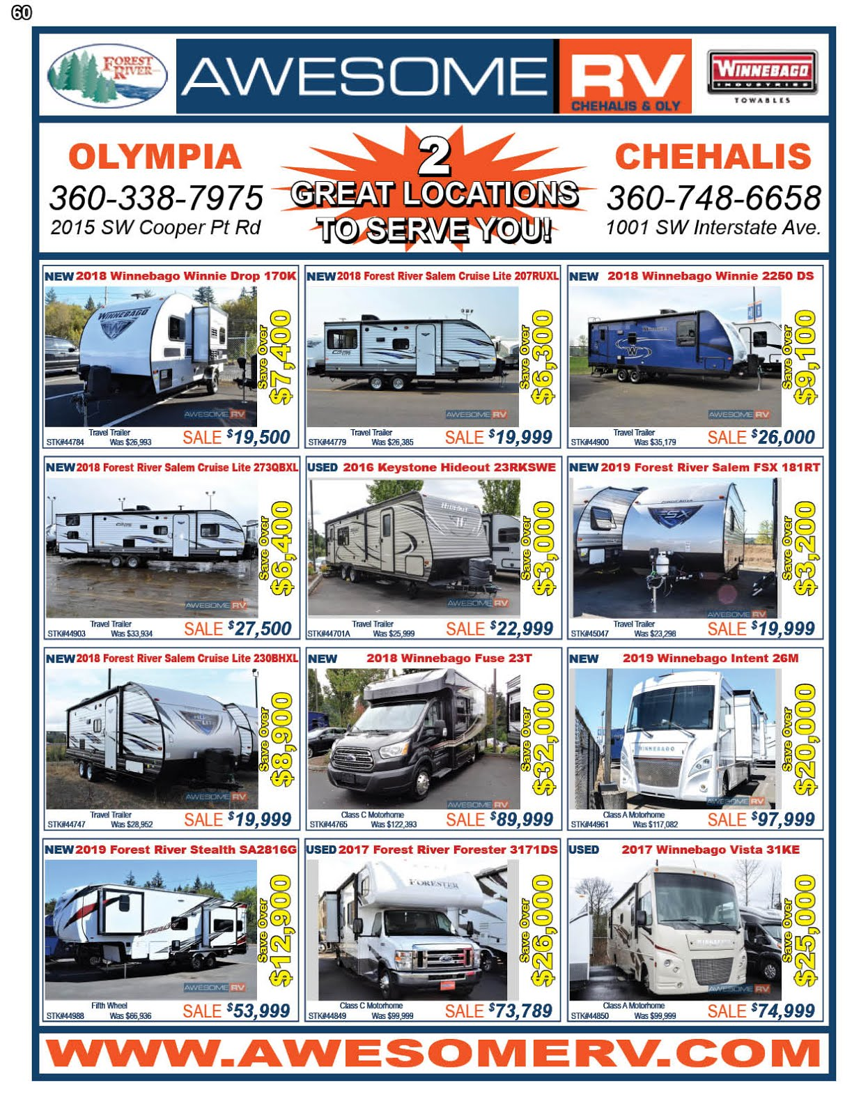 Awesome RV  Olympia & Chehalis