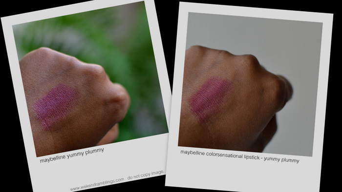 Maybelline Lipstick Color Sensational Yummy Plummy Indian Dark Skin Makeup Beauty Blog Reviews Swatches FOTD Looks