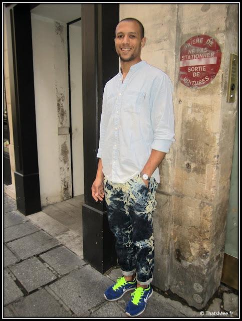 Style de la semaine Romain total look Carhartt, shoes Nike fluo vert et bleu, jean tie and die Carhartt hommes