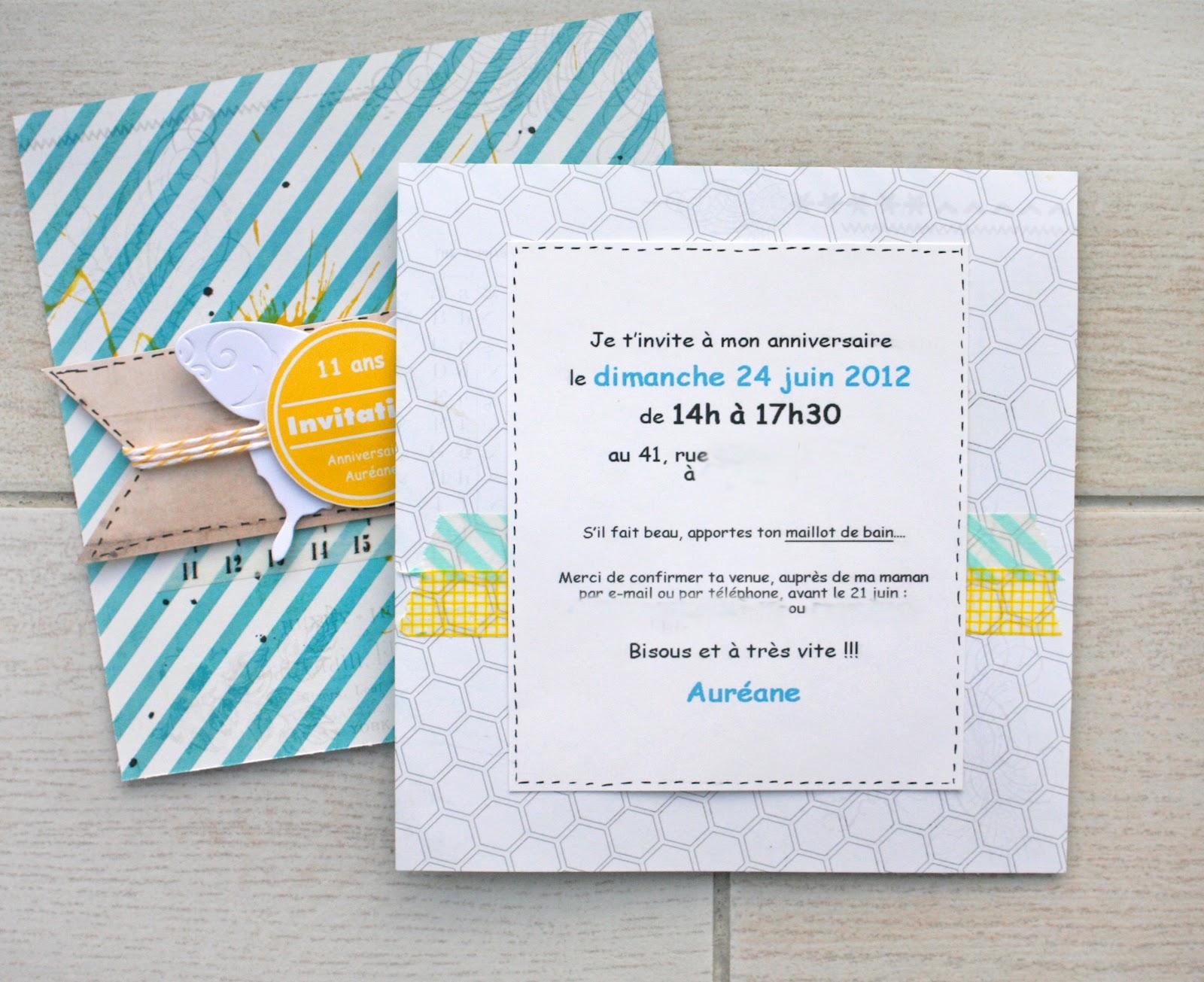 scrap plaisir le scrap de shannon91 cartes d 39 invitation pour l 39 anniversaire de ma fille. Black Bedroom Furniture Sets. Home Design Ideas