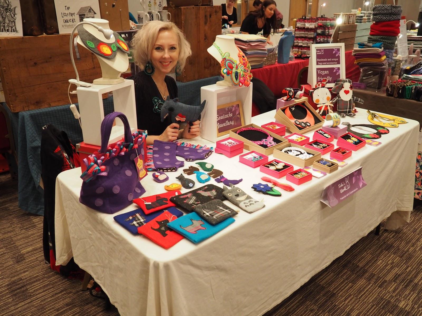 animal-friendly, Flying Duck, Glasgow, Scotland, vegan, Scottish Bead Fair, whimsical lush, badges, soutache, jewellery, beaded jewellery, eco felt