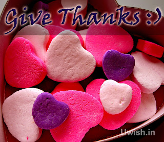 Happy Thanksgiving wishes and greetings with love hearts sweets.