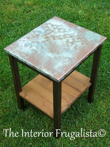 Faux Oxidized Copper Topped Table After