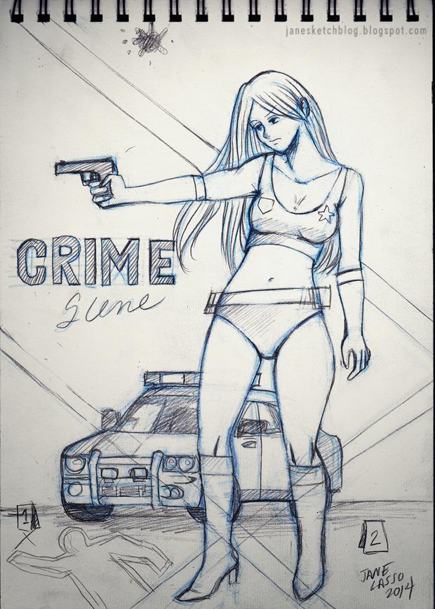 Dibujo y boceto de escena del crimen