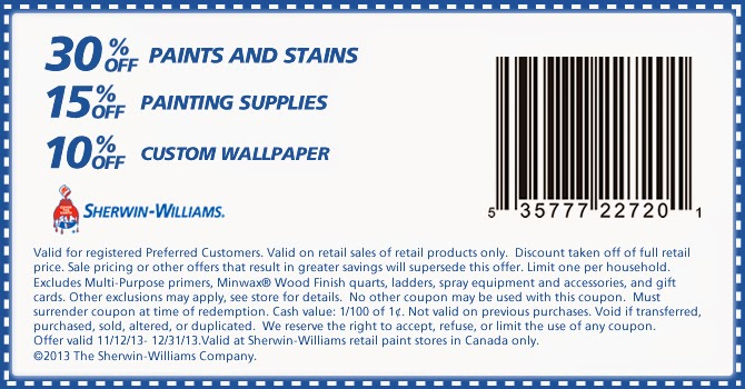 Print coupons for Sherwin-Williams Canada. Never miss another coupon. Be the first to learn about new coupons and deals for popular brands like Sherwin-Williams with the Coupon Sherpa .