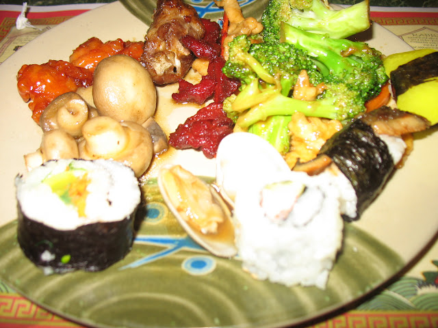 Sweet and Sour Chicken, Mushrooms, Sushi, Clams in black bean sauce, there's something for everyone at Hudson Buffet!
