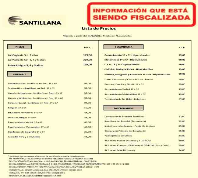 Lista De Precios Santillana Santillana Uruguay John