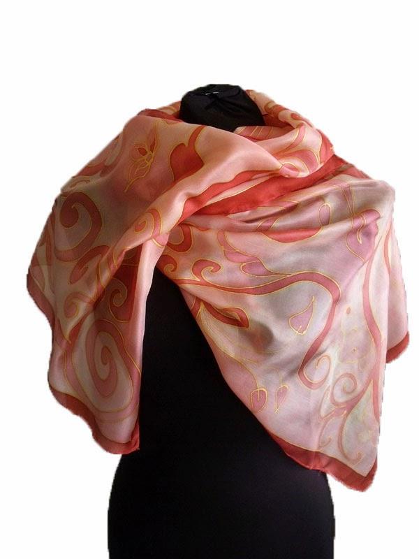Indás selyemsál - elegáns ajándék nőknek, kézzel festve, hernyóselyemből