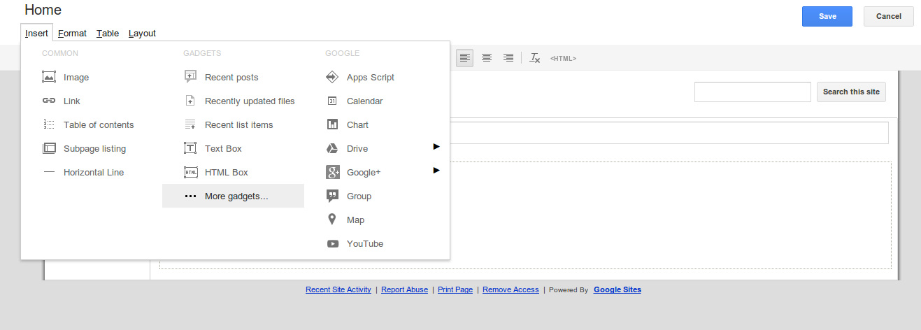 how to create more pages site googlee