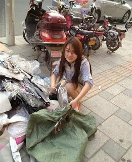 wanita cantik, cewek, chinese, pemulung, sampah, analisa
