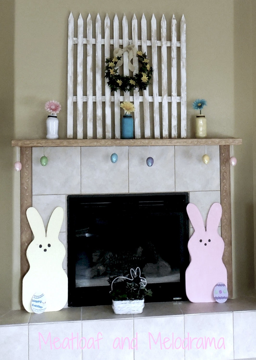 peeps bunnies, flowers, picket fence on spring mantel