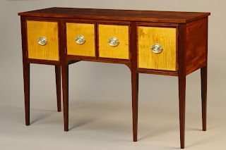 Reproduction Sideboard made of solid Mahogany TIger Maple ebony and holly