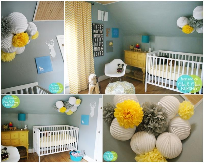chambre bebe jaune et grise