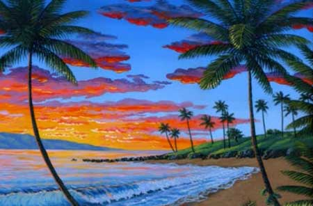 paint a tropical sunset painting 2 lesson art class using acrylics