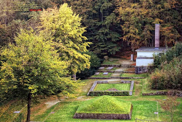 Place of execution - Grassy pyramid - Pile of ashes - Crematorium in The Valley of Death - Flossenburg Concentration Camp
