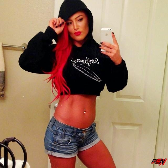 Eva Marie Shows Off Her Stomach.